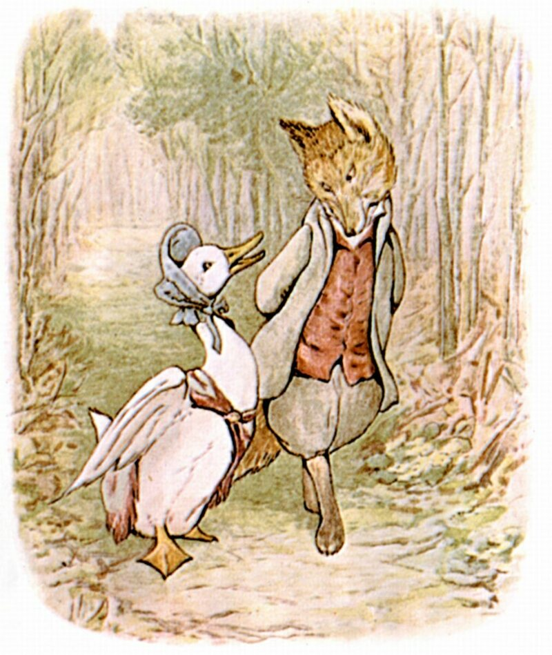 "A fox and a goose go strolling in ""The Tale of Jemima Puddle-Duck."""