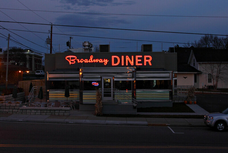 The Broadway Diner by night.