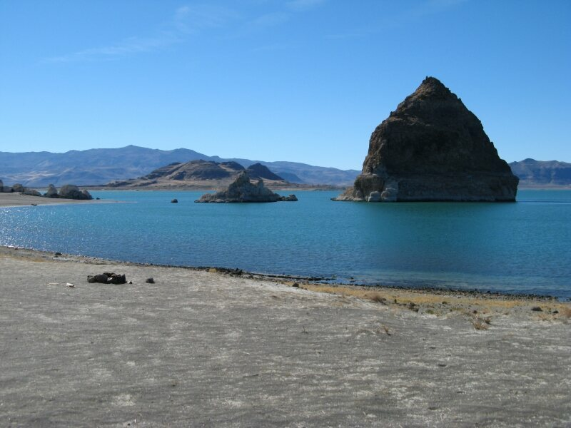 The rock formations that give Pyramid Lake its name.