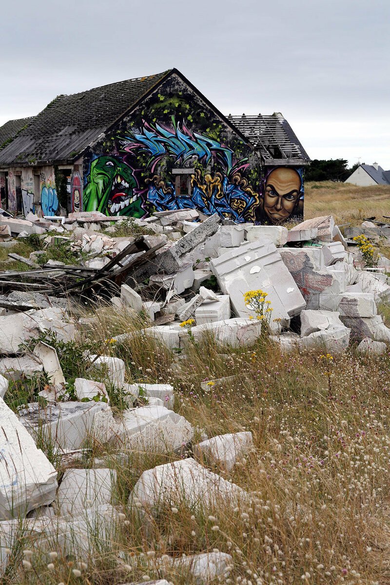 The ruins of houses and other buildings.