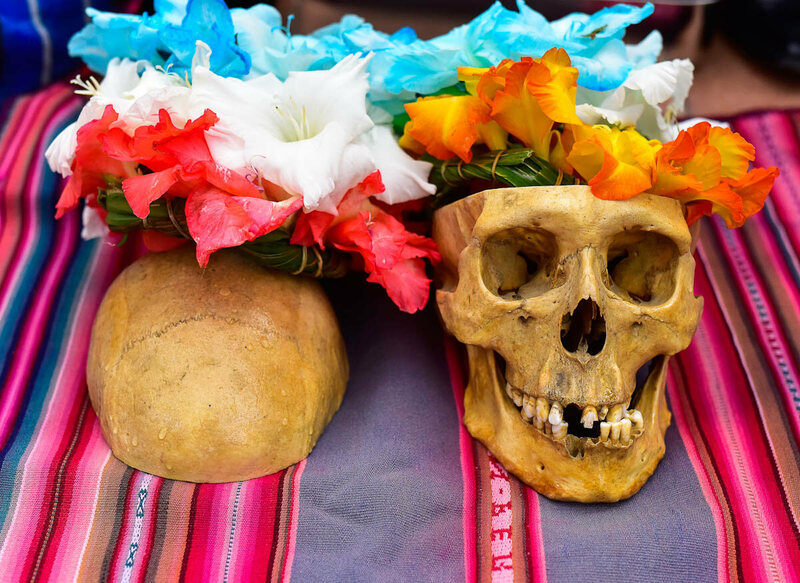 Many natitas are acquired from medical schools_ in this case, the top of the skull was cut away, but the cavity now serves as a vase to place flowers during the Fiesta.