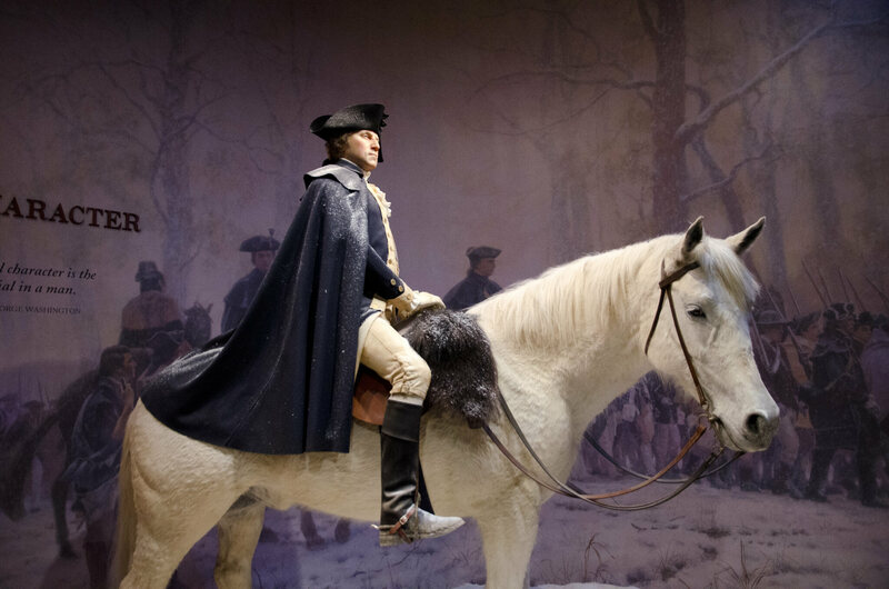 A wax figure at Mount Vernon, showing George Washington riding Blueskin.