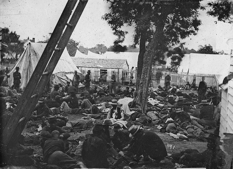 The field hospital after the Battle of Savage Station. Lack of doctors and resources meant that medical conditions were often unhygienic.