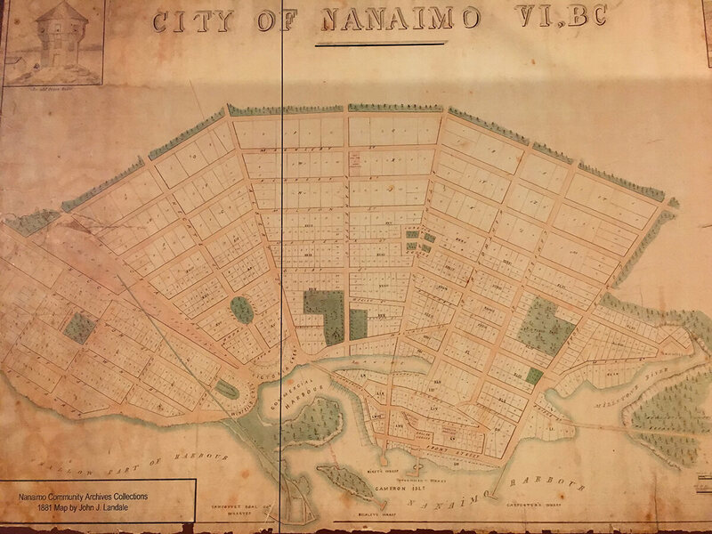 An 1881 map of Nanaimo.