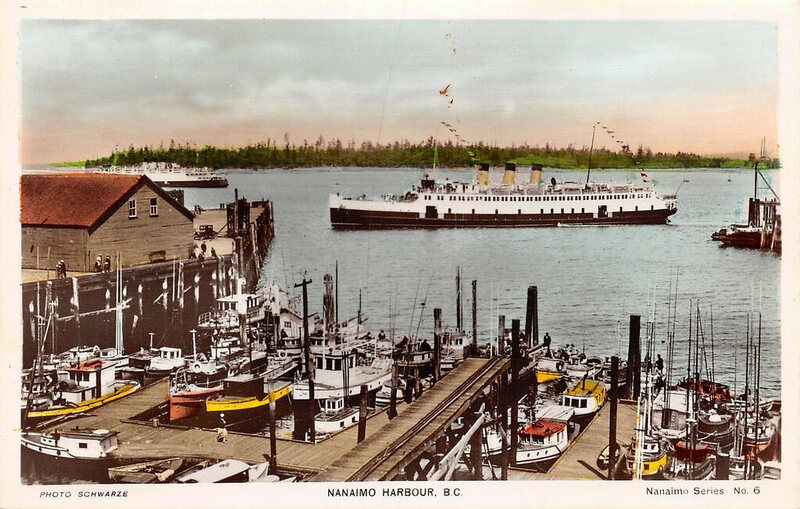 A postcard of Nanaimo Harbor, c. 1940.