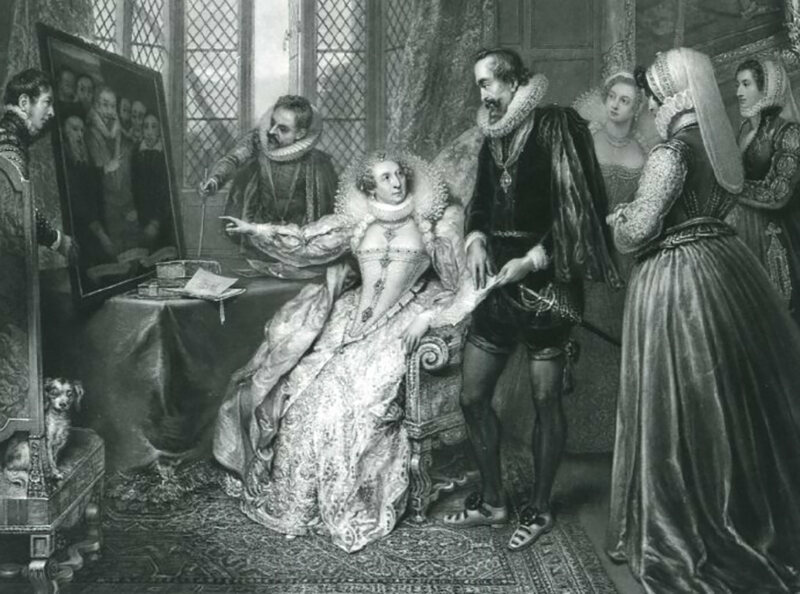 <em>Queen Elizabeth attended by her secretary, Sir Francis Walsingham, detecting Babington's conspiracy</em>, mezzotint from 1830 by John Charles Bromley.