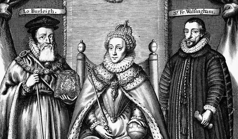 Queen Elizabeth with Lord Burleigh and Sir Francis Walsingham.