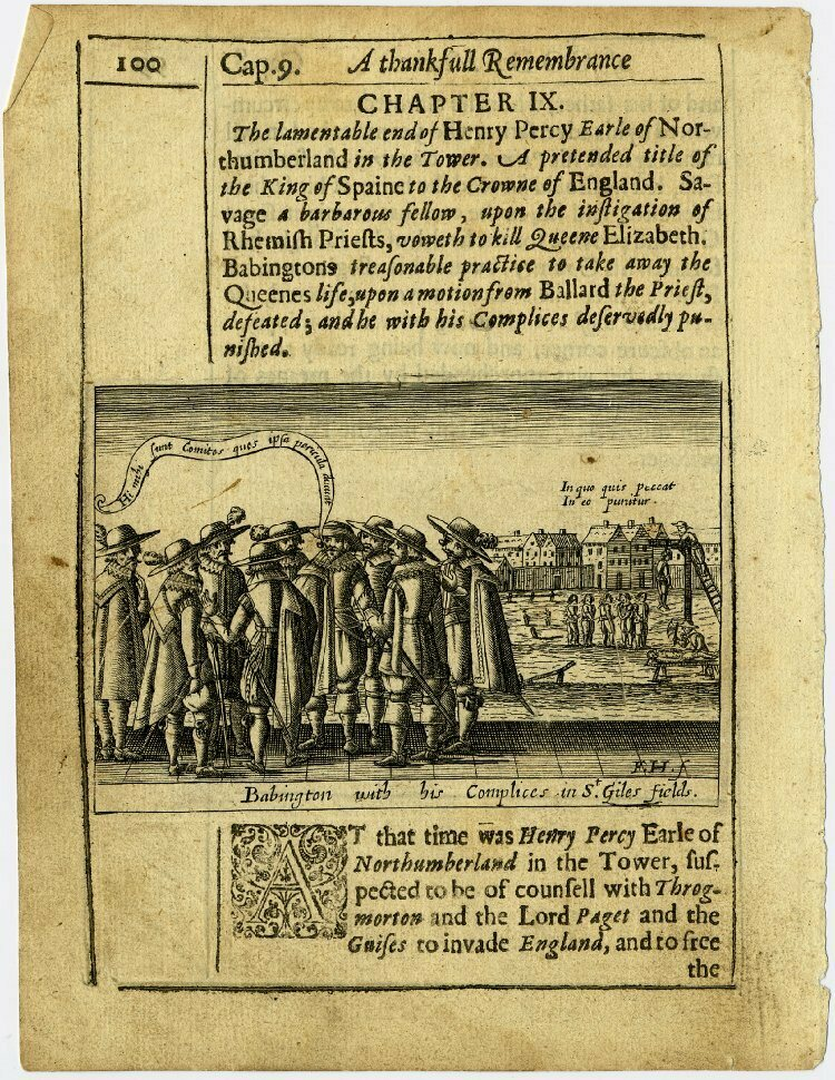 Babington with his Complices in St. Giles fields</em>, a 17th century etching showing Anthony Babington meeting with his co-conspirators.
