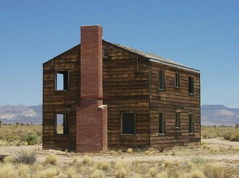 A wooden house at the Nevada Test Site.