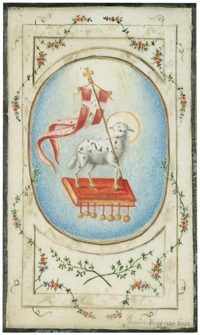 A watercolor painting by Johann Burgman of <em>The Lamb of God and the Book of Seven Seals.</em>