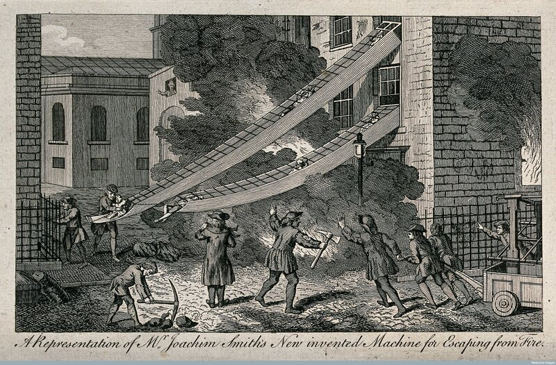 As a fire rages in a house, people escape through W. Joachim Smith's new invented chute machine.