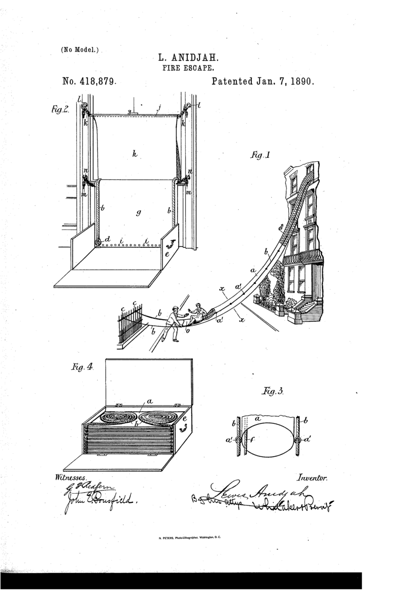 Lewis Anidjah's 1890 patent for a flame retardant canvas chute with a hammock at the end where the person lands is akin to the one used at the City Hall demonstration.