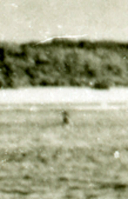 A 1937 photo taken by the British off Nikumaroro that shows a mysterious object in the center, possibly a part of Earhart's plane.