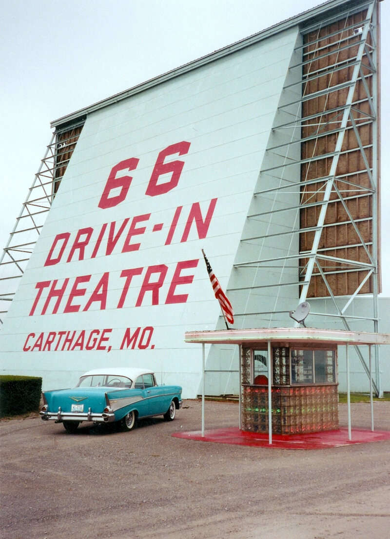 The 66 Drive-in Theatre in Carthage, Missouri. It first opened in 1948, closed in 1985 and was restored and reopened in 1997.