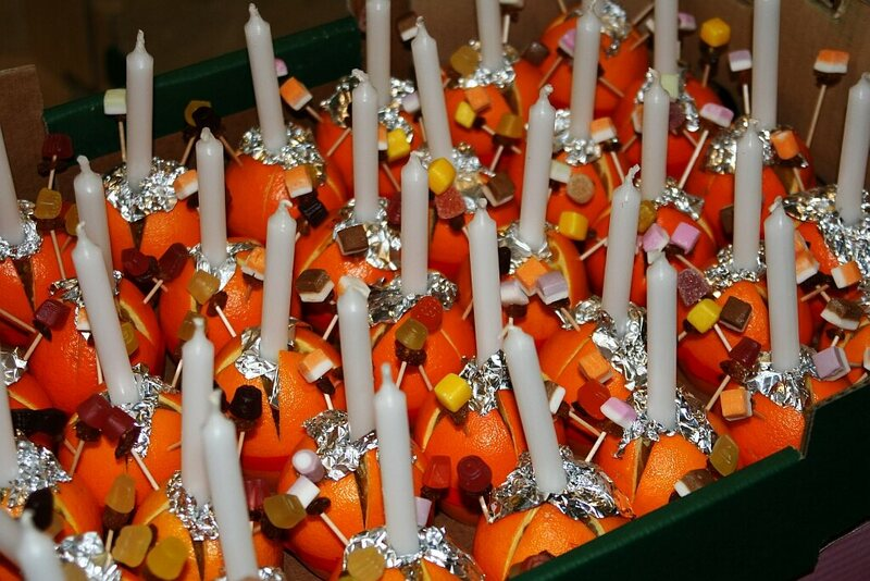 Christingles waiting to be lit.