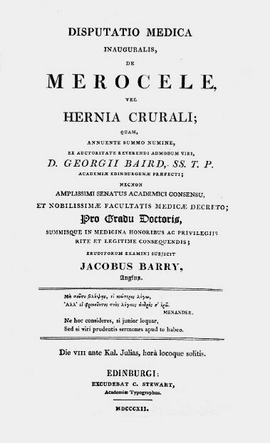 The title page of Barry's thesis on the femoral hernia.
