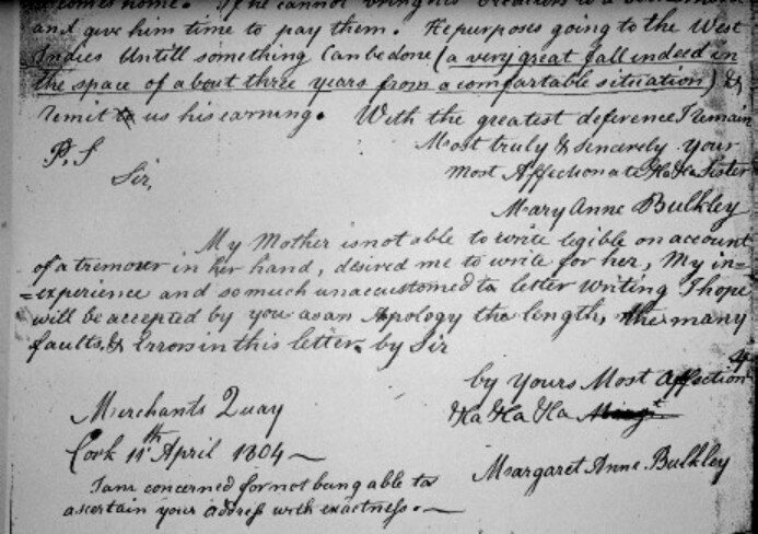 A portion of a letter written and signed by Margaret Ann Bulkley in 1804.