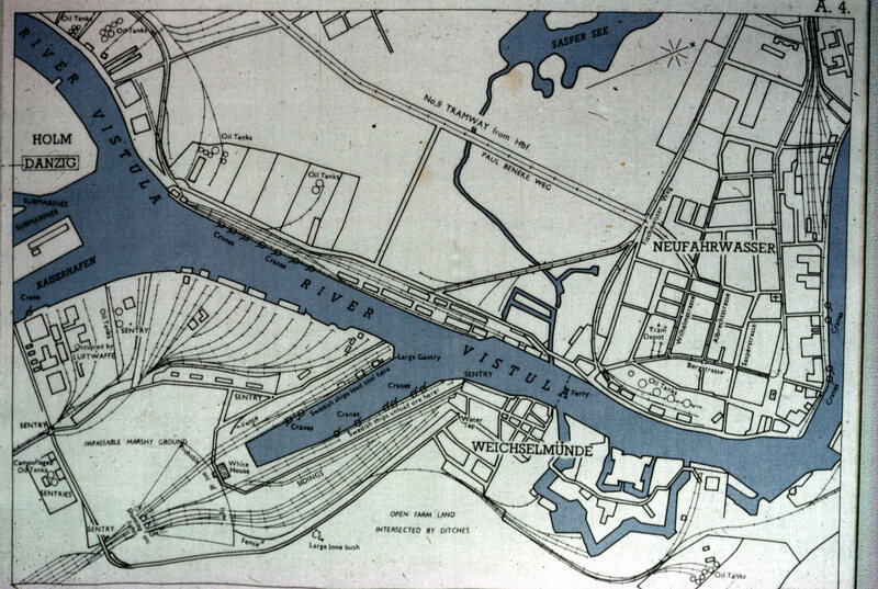 """A map of Danzig Port, showing where Swedish ships berthed to unload coal—a good escape prospect. The map also shows sentry points and at least one good hiding spot (the """"large lone bush"""" at the lower left)."""