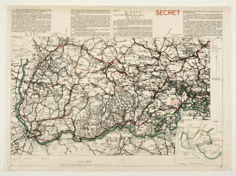"A silk map of the German/Swiss border, featuring detailed escape instructions and clearly designated ""SECRET."""