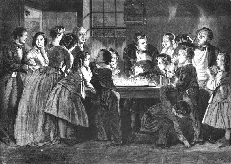 A family plays a game of Snapdragon, from the December 25,1858 issue of the <em>Illustrated London News</em>.