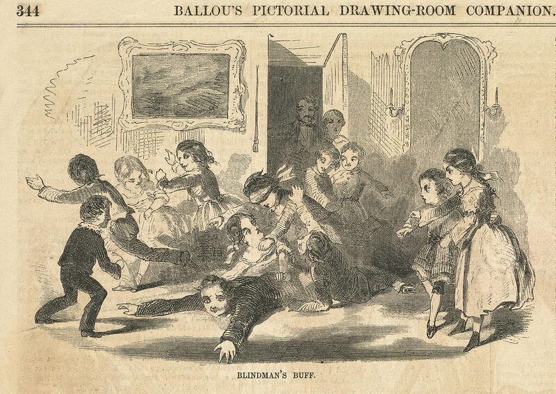A violent-looking bout of Blind Man's Bluff, as drawn by Winslow Homer in 1857.
