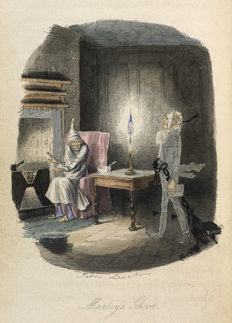 An 1843 illustration of Ebenezer Scrooge visited by a ghost, from <em>A Christmas Carol</em>.