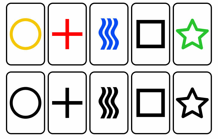 Five kinds of Zener cards, in different colors.