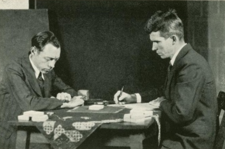 Hubert Pearce and Dr. J. B. Rhine experimenting with Zener cards.
