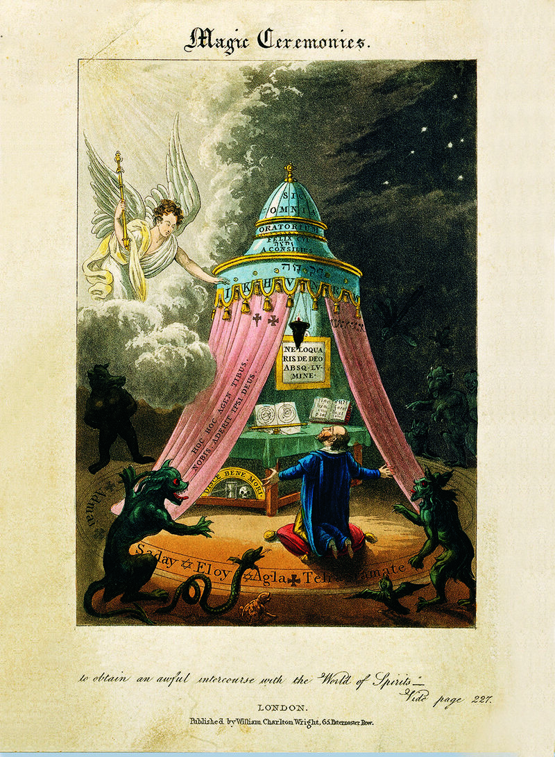 A theurgist performs rituals to exercise divine powers on earth, 19th century.