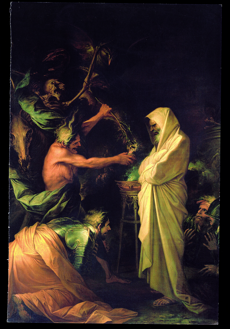 A depiction of necromancy from the Old Testament, where the Witch of Endor conjures Samuel from the dead.