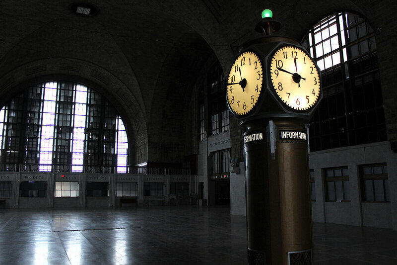 The grand concourse of the Buffalo Central Terminal. Once it would have been filled with the sounds of trains, passengers and restaurants but is today eerily silent.