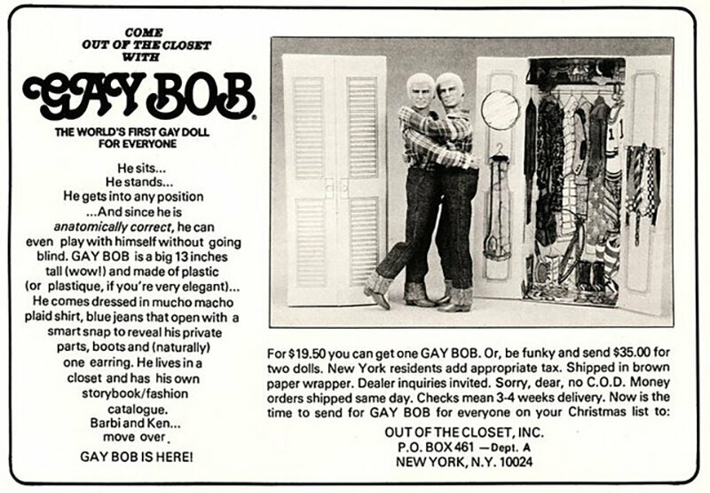 A 1978 magazine advertisement for the Gay Bob doll.