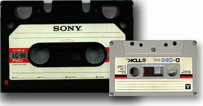 The Elcaset, left, compared with an ordinary cassette tape.