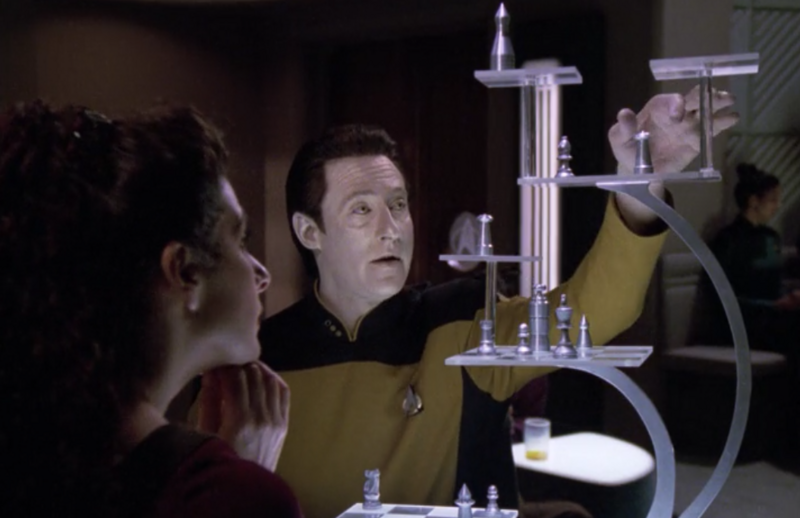 Data and Troi play and even futurer version of Tridimensional Chess.