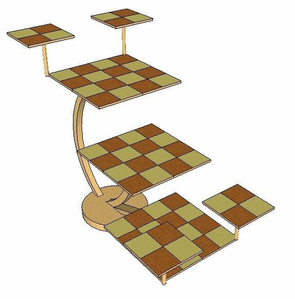 A diagram of the traditional Tridimensional Chess board.
