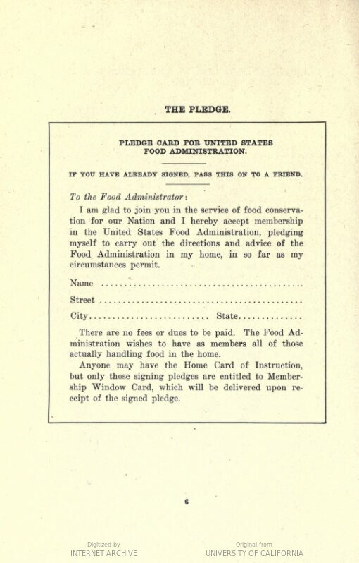 The pledge card featured in a U.S. Food Administration pamphlet containing recipes with substitutions.