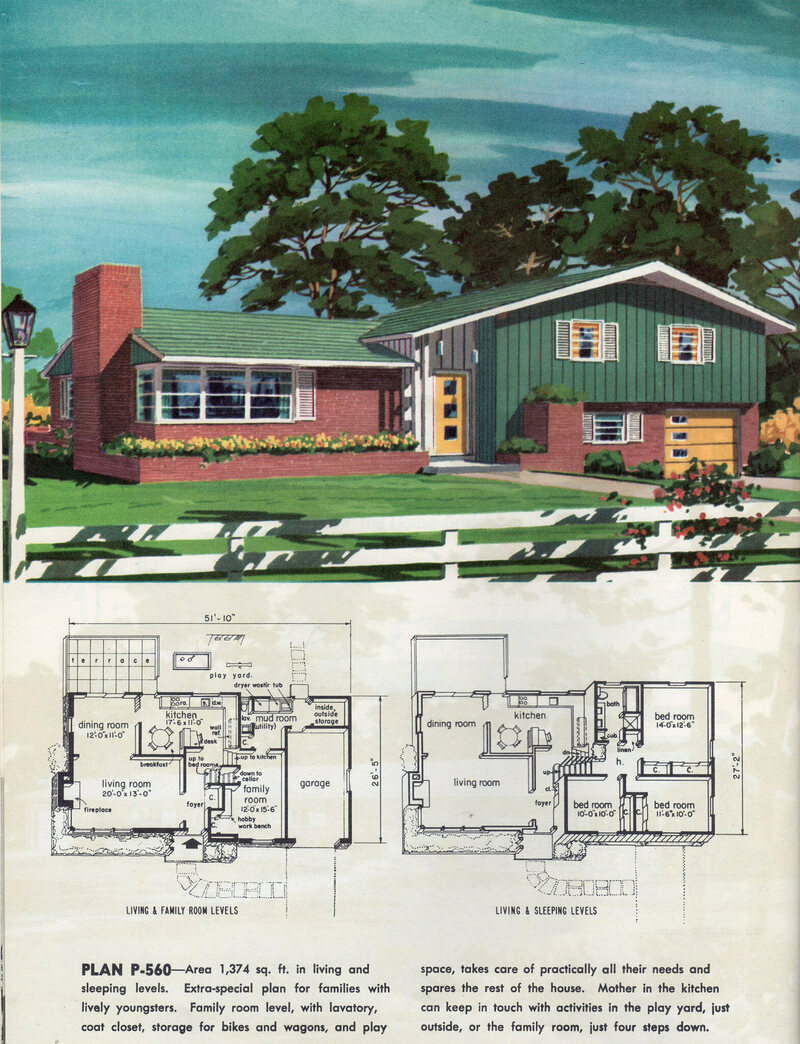A house plan from 1960, showing one upstairs bathroom and one downstairs toilet.