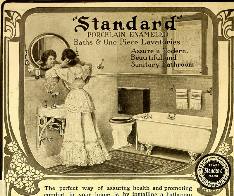 An advertisement for Standard Bathroom Fixtures from the 1905 issue of <em>American Homes and Gardens</em>.
