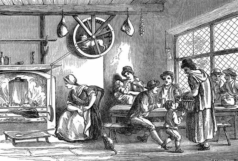 A turnspit dog at work in the inn at Newcastle, Carmarthen, Wales, c. 1800.