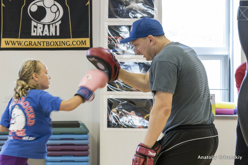 Trainer Ilia Mesishchev in action at the Underground Boxing Gym in Sheepshead Bay, Brooklyn.