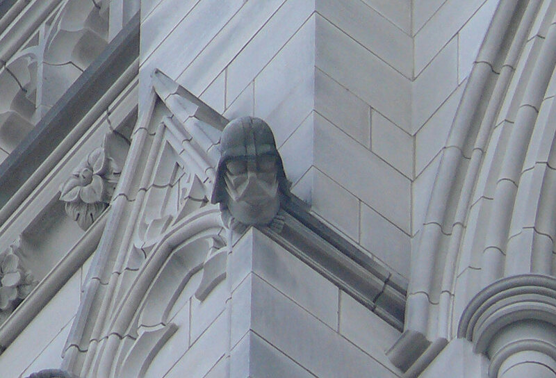 Darth Vader grotesque on the northwest tower of the Washington National Cathedral.