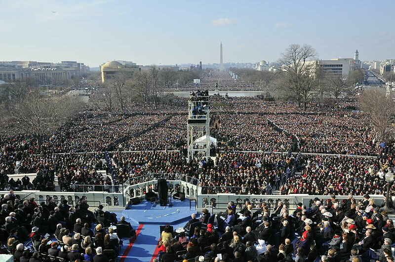 Barack Obama's 2009 inauguration brought 1.8 million people to the mall.