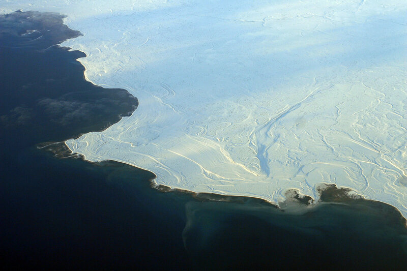 Icy ocean in Nunavut, near where the ping is causing problems.