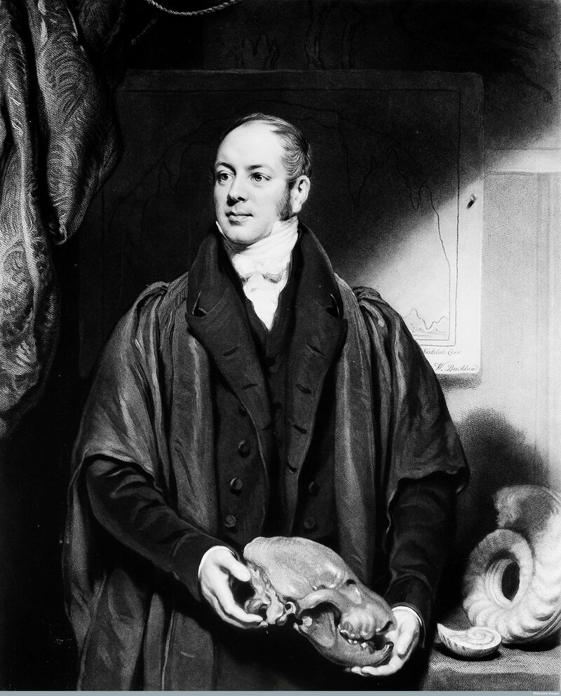 William Buckland holding a hyena skull.