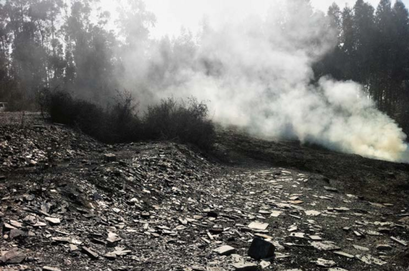 Smoke is released over Bas Smets's C.H.Z. film set.