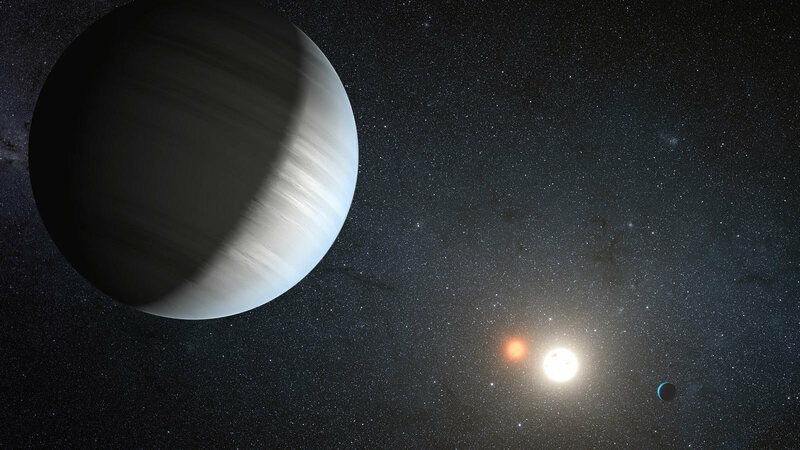 An artist's rendition of the planet Kepler-47c, known to be in the habitable zone of two suns.