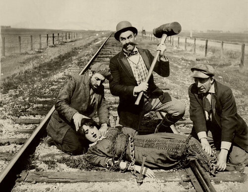 A still from the silent comedy, <em>Barney Oldfield's Race for a Life</em>
