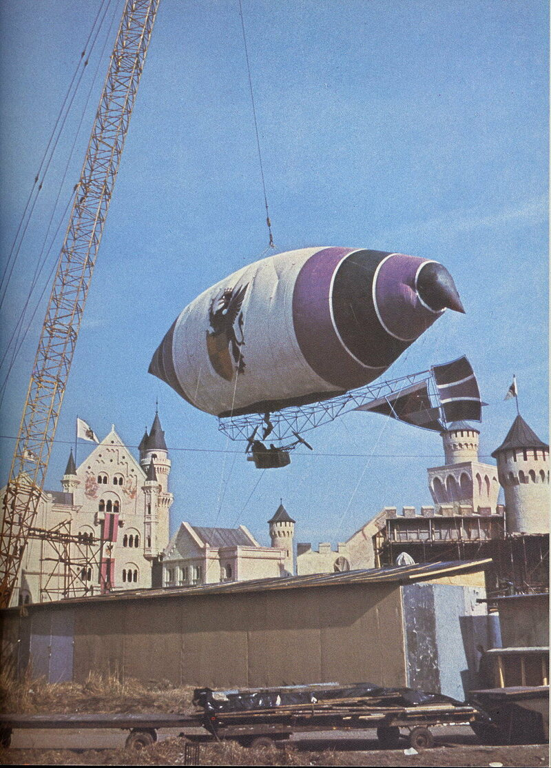 Baron Bomburst's blimp, from Chitty Chitty Bang Bang, didn't steer very well.