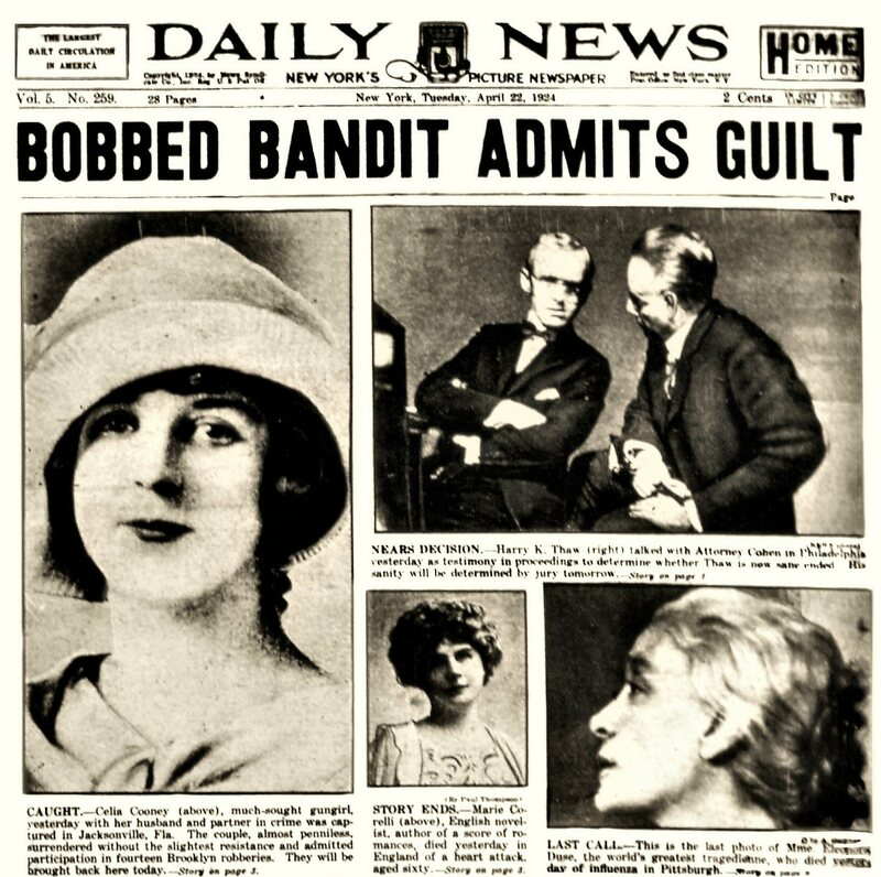 The front page of the <em>Daily News</em> on May 7, 1924 when Ed and Celia were finally caught and tried.