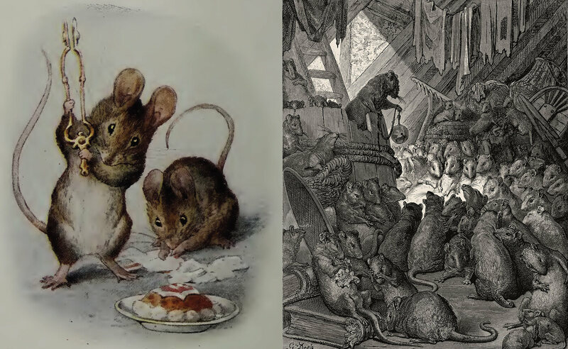 "While Beatrix Potter's ""Two Bad Mice"" weren't really so bad, Gustave Doré's engraved rats are menacing."